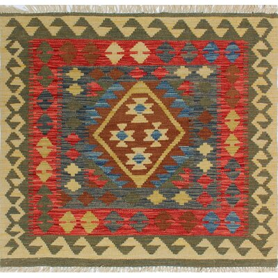 One-of-a-Kind Rucker Kilim Dilhan Hand-Woven Wool Brown Area Rug