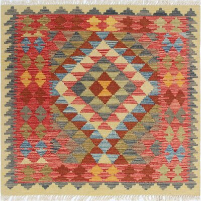 One-of-a-Kind Rucker Kilim Kamuran Hand-Woven Wool Green Area Rug