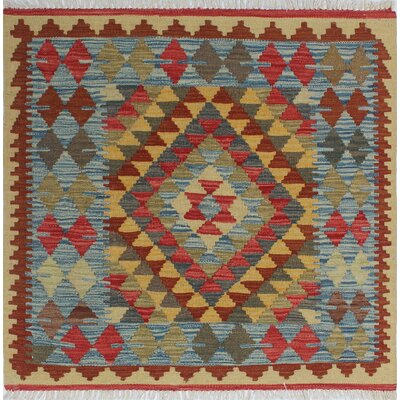 Vallejo Kilim Meliha Hand-Woven Wool Green Area Rug