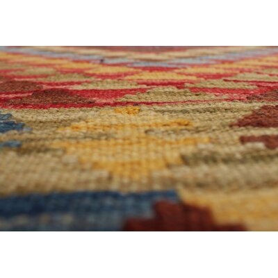 One-of-a-Kind Vallejo Kilim Destan Hand-Woven Wool Gold Area Rug