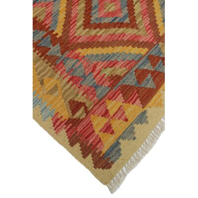 One-of-a-Kind Rucker Kilim Alev Hand-Woven Wool Rust Area Rug