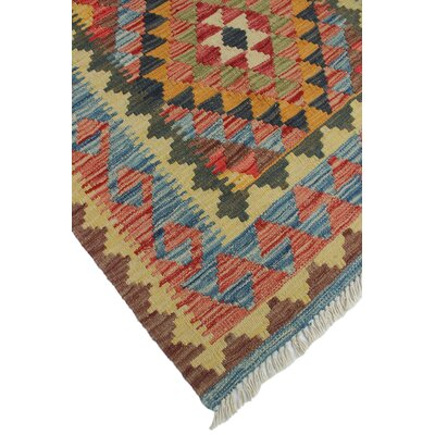 One-of-a-Kind Vallejo Kilim Kamile Hand-Woven Wool Beige Area Rug