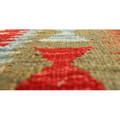One-of-a-Kind Vallejo Kilim Nurcan Hand-Woven Wool Red Area Rug