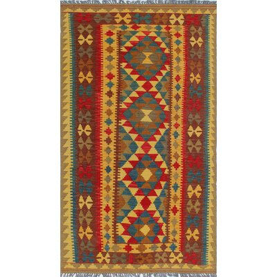 One-of-a-Kind Vallejo Kilim Sacide Hand-Woven Wool Gold Area Rug