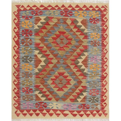 One-of-a-Kind Vallejo Kilim Omay Hand-Woven Wool Rust Area Rug