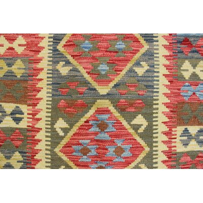 One-of-a-Kind Vallejo Kilim Sunay Hand-Woven Wool Green Area Rug