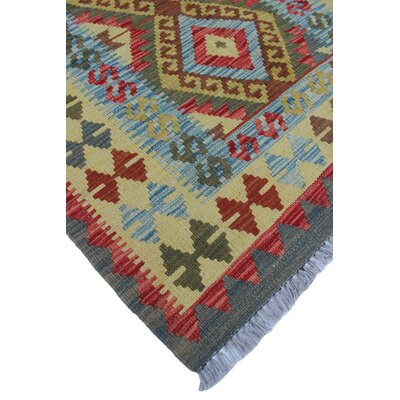 Vallejo Kilim Harika Hand-Woven Wool Light Green Area Rug