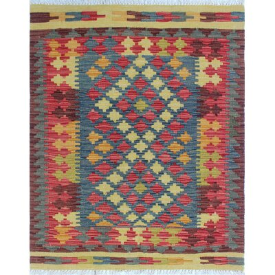 One-of-a-Kind Vallejo Kilim Sevgi Hand-Woven Wool Red Area Rug