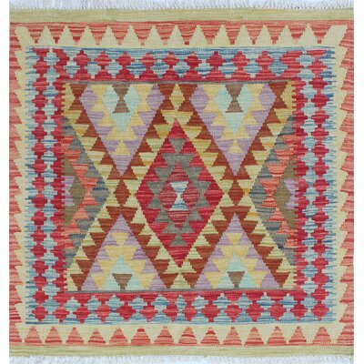 One-of-a-Kind Rucker Kilim Fitnat Hand-Woven Wool Rust Area Rug