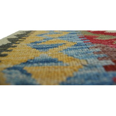 Vallejo Kilim Morga Hand-Woven Wool Red Area Rug