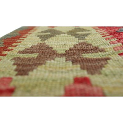 Vallejo Kilim Woraz Hand-Woven Wool Green Area Rug