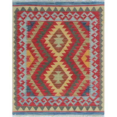 Vallejo Kilim Hussain Ali Hand-Woven Wool Gold/Red Area Rug