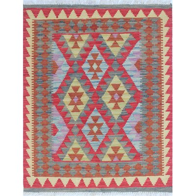 One-of-a-Kind Vallejo Kilim Adeis Hand-Woven Wool Red Area Rug