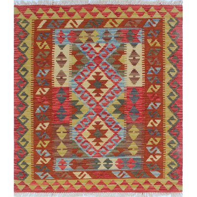 One-of-a-Kind Rucker Kilim Zabiullah Hand-Woven Wool Gold Area Rug