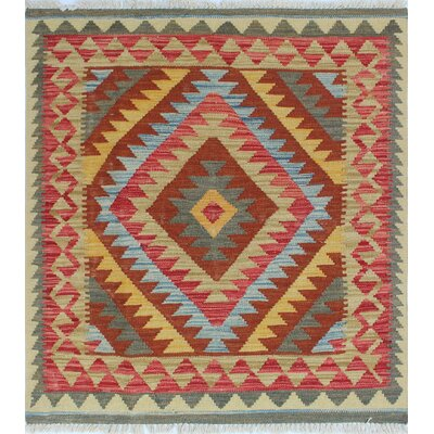One-of-a-Kind Rucker Kilim Jooma Hand-Woven Wool Rust Area Rug