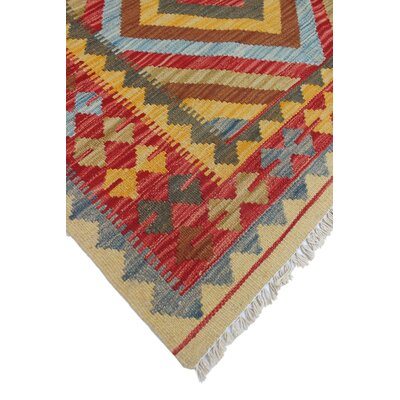 One-of-a-Kind Rucker Kilim Ikhlas Hand-Woven Wool Gold Area Rug