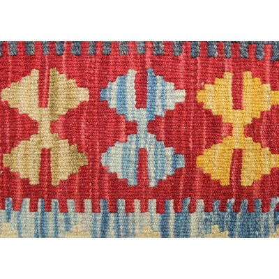 Vallejo Kilim Khair Hand-Woven Wool Red Area Rug