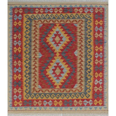 Vallejo Kilim Lemar Hand-Woven Wool Red Area Rug