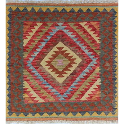One-of-a-Kind Rucker Kilim Malyar Hand-Woven Wool Gold Area Rug