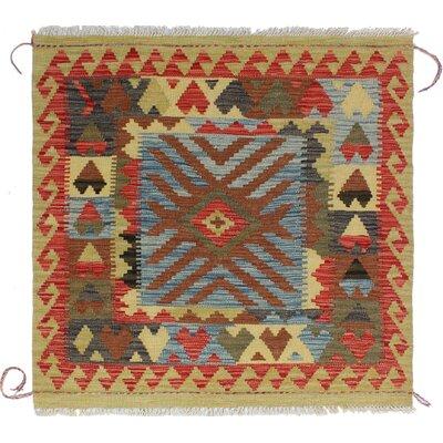 One-of-a-Kind Rucker Kilim Hajera Hand-Woven Wool Blue Area Rug
