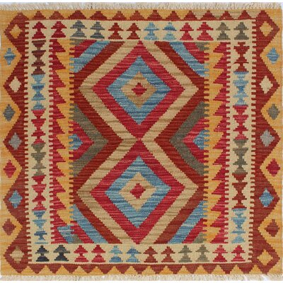 One-of-a-Kind Rucker Kilim Zabi Hand-Woven Wool Red Area Rug