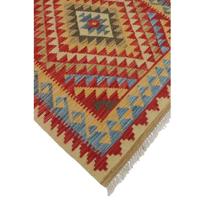 Vallejo Kilim Moushgan Hand-Woven Wool Red Area Rug