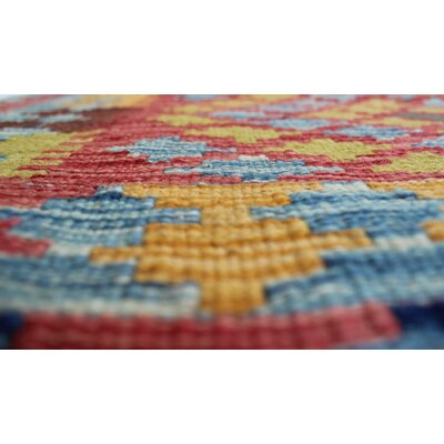 One-of-a-Kind Rucker Kilim Mahboobullah Hand-Woven Wool Blue Area Rug