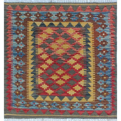 One-of-a-Kind Rucker Kilim Yaqut Hand-Woven Wool Red Area Rug