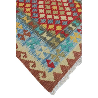 One-of-a-Kind Rucker Kilim Gulaalaim Hand-Woven Wool Red Area Rug