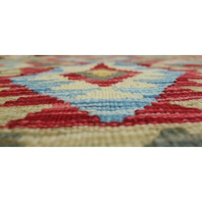 Vallejo Kilim Nizaam Hand-Woven Wool Red Area Rug