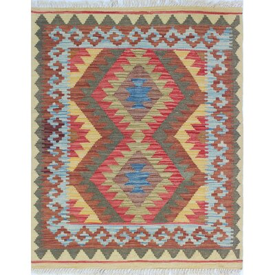Vallejo Kilim Area Rugia Hand-Woven Wool Brown Area Rug