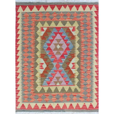One-of-a-Kind Rucker Kilim Moosa Hand-Woven Wool Red Area Rug
