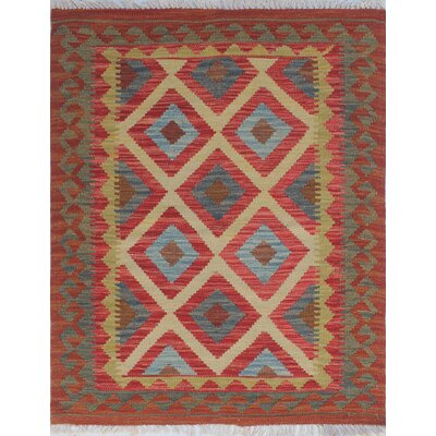 Vallejo Kilim Faryal Hand-Woven Wool Red Area Rug
