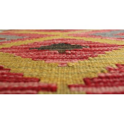One-of-a-Kind Rucker Kilim Inzir Hand-Woven Wool Red/Beige Area Rug