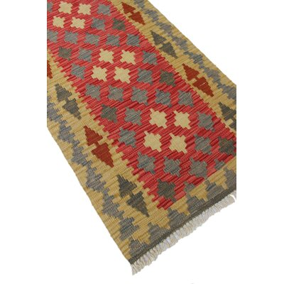 One-of-a-Kind Rucker Kilim Harsallah Hand-Woven Wool Red Area Rug