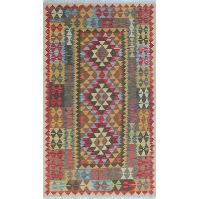 Vallejo Kilim Homaira Hand-Woven Wool Red Area Rug