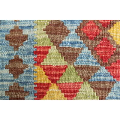 One-of-a-Kind Rucker Kilim Marghalai Hand-Woven Wool Blue Area Rug