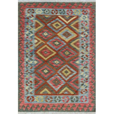 Vallejo Kilim Maqsood Hand-Woven Wool Green Area Rug