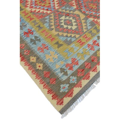 Vallejo Kilim Zabia Hand-Woven Wool Red Area Rug