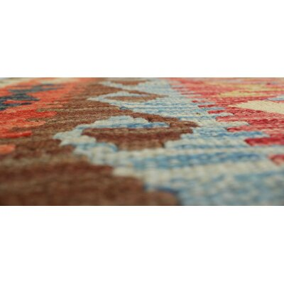One-of-a-Kind Rucker Kilim Tuuba Hand-Woven Wool Red Area Rug