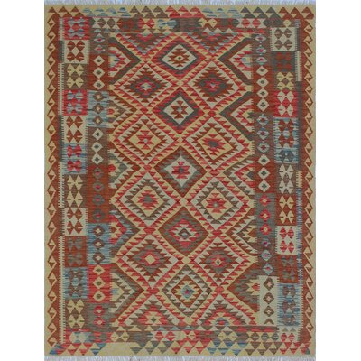Vallejo Kilim Barialy Hand-Woven Wool Red Area Rug