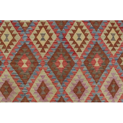 One-of-a-Kind Rucker Kilim Ghulam Ali Hand-Woven Wool Red Area Rug