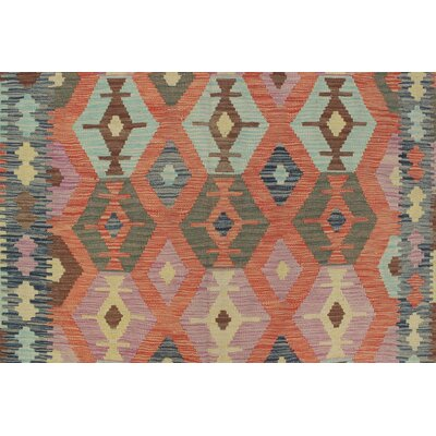One-of-a-Kind Vallejo Kilim Raihana Hand-Woven Wool Rust Area Rug