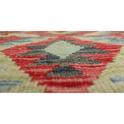 One-of-a-Kind Rucker Kilim Farooz Hand-Woven Wool Red Area Rug