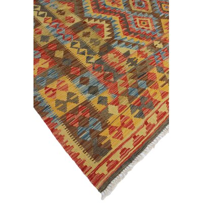 One-of-a-Kind Vallejo Kilim Khatera Hand-Woven Wool Red Area Rug