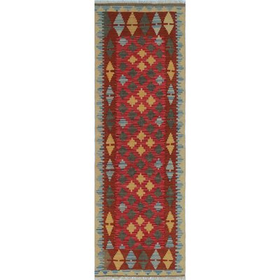 One-of-a-Kind Rucker Kilim Moshref Hand-Woven Wool Red Area Rug