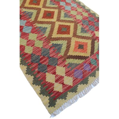 One-of-a-Kind Rucker Kilim Baser Hand-Woven Wool Red Area Rug
