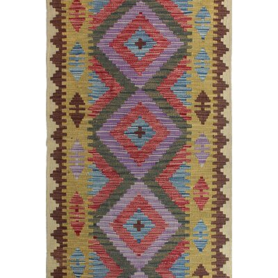 One-of-a-Kind Rucker Kilim Majabein Hand-Woven Wool Purple Area Rug
