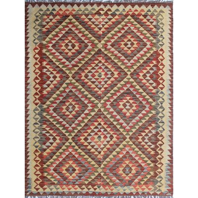 One-of-a-Kind Rucker Kilim Tahira Hand-Woven Wool Brown Area Rug