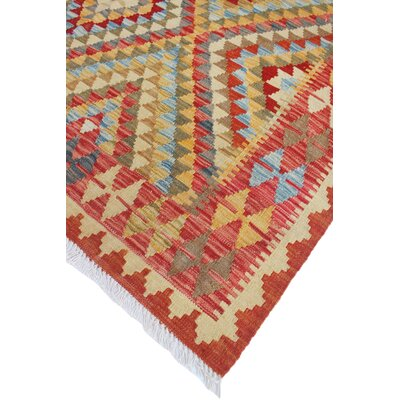 One-of-a-Kind Vallejo Kilim Haider Hand-Woven Wool Gold Area Rug